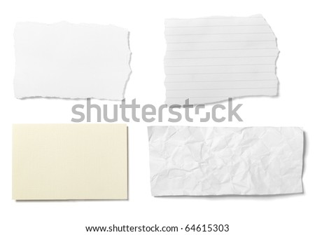 collection of  various ripped pieces of paper on white background. each one is shot separately - stock photo