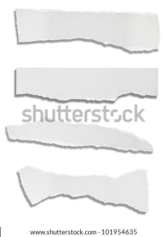 collection of various ripped white papers on white background. each one is shot separately - stock photo