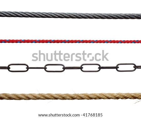 collection of various ropes and chains on white background. each one is in cameras full resolution - stock photo