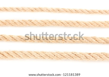 Collection of various ropes isolated on white