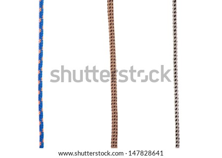 collection of various ropes on white background - stock photo