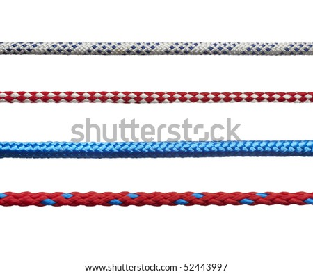 collection of various ropes on white background. each one is in full cameras resolution - stock photo