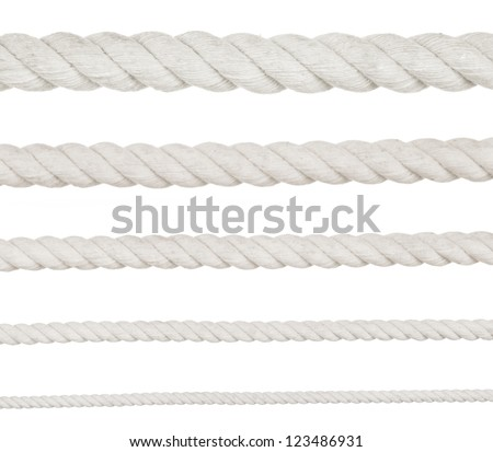 collection of various ropes on white background. each one is shot separately - stock photo