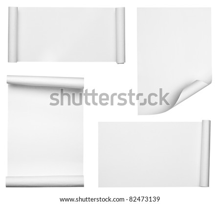 collection of  various scroll paper on white background. each one is shot separately