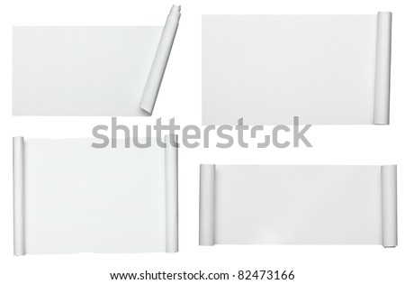 collection of  various scroll paper on white background. each one is shot separately - stock photo