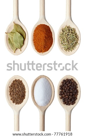collection of various seasoning in wooden spoons on white background. each one is shot separately - stock photo