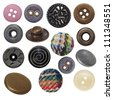 collection of various sewing button and metal  jeans buttons isolated on white background - stock photo