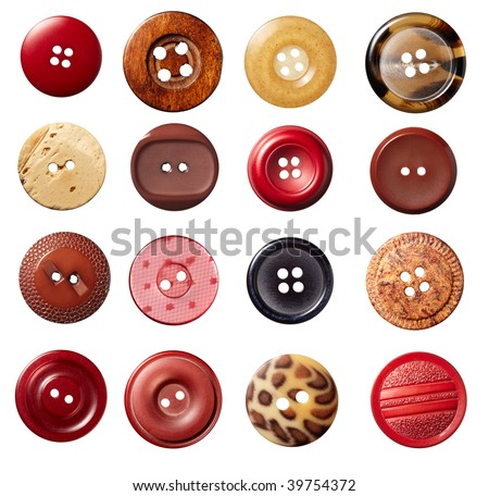 collection of various sewing button on white background. each on is shot separately - stock photo
