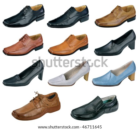 Collection of various shoes isolated on white background - stock photo