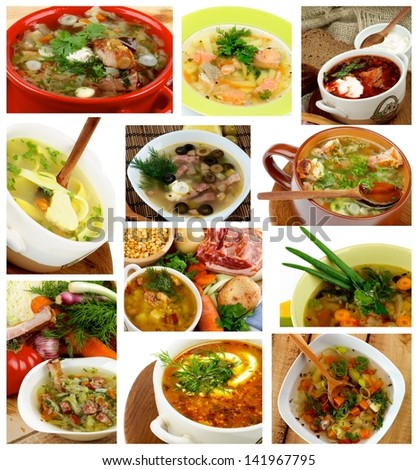 Collection of Various Soups with Vegetables, Meat, Fish and Sour Cream