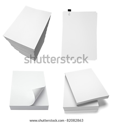 collection of various stacks of papers on white background. each one is shot separately - stock photo
