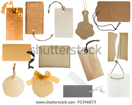 collection of various tags or address labels isolated on the white background - stock photo