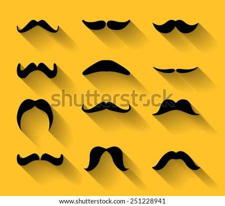 Collection of various type of moustaches with shadows. Whisker, barber, mustache moustache flat design. Black mustache, barber, moustache long shadows set. Barber, moustache, mustache whisker icons. - stock photo