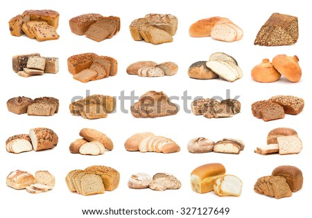 Collection of various types of breads. Isolated over white background - stock photo