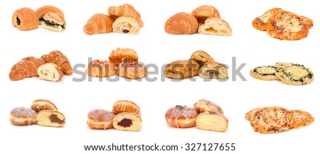 Collection of various types of breads, rolls and buns - stock photo
