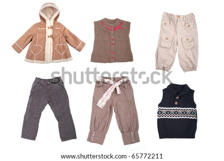 Collection of various types of children clothes isolated on white - stock photo