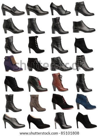 Collection of various types of female shoes over white - stock photo