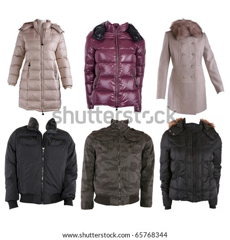 Collection of various types of winter jackets isolated on white - stock photo