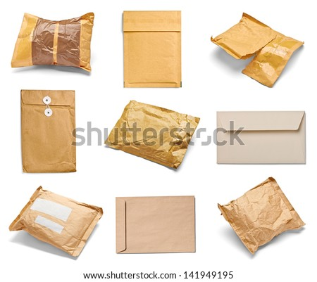 collection of various used open mail package on white background. each one is shot separately - stock photo