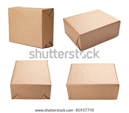 collection of various views of a wrapped box on white background. each one is shot separately - stock photo