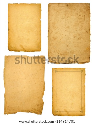 collection of various vintage paper isolated on white - stock photo