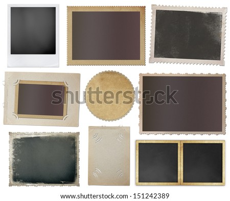 collection of various vintage photos on white background - stock photo