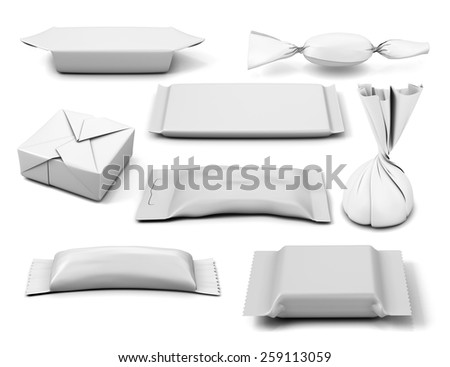 Collection of  various white bag package template on white background. 3d illustration. - stock photo
