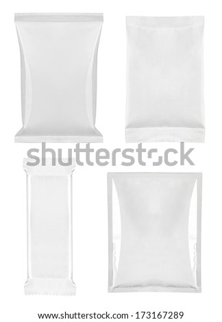 collection of  various white bag package template on white background. each one is shot separately