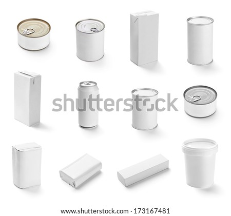 collection of  various white box and packages on white background. each one is shot separately - stock photo