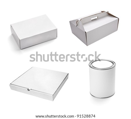 collection of  various white boxes on white background. each one is shot separately - stock photo