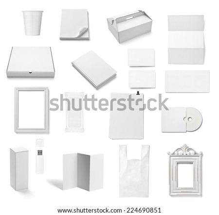 collection of  various white business print templates on white background. each one is shot separately - stock photo