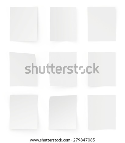collection of various white note papers on white background