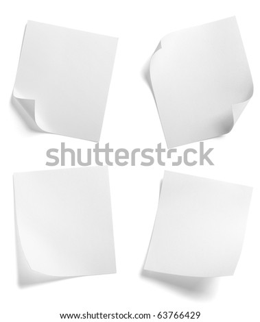 collection of  various white note papers on white background. each one is shot separately - stock photo