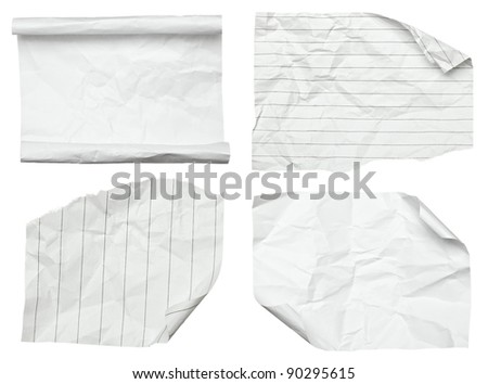 collection of various white papers on white background. each one is shot separately - stock photo