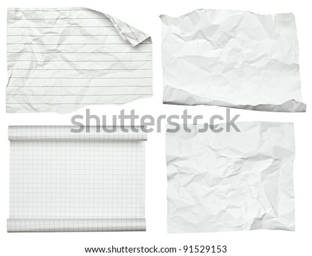 collection of various white papers on white background. each one is shot separately