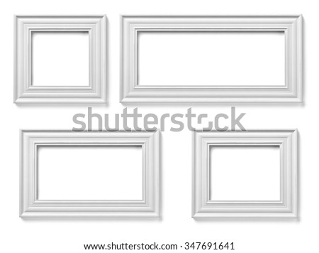 collection of various white wood frames on white background. each one is shot separately - stock photo
