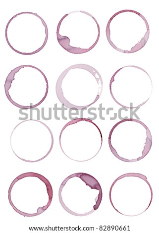 collection of  various wine stains on  white background. each one is shot separately - stock photo