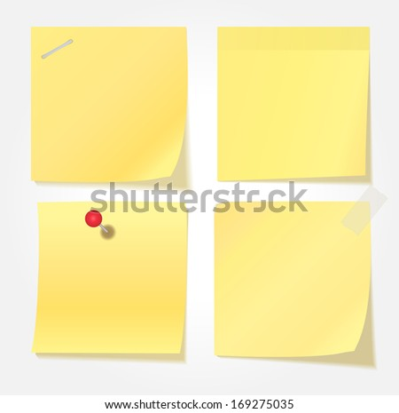 Collection of various yellow note papers.