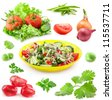 Collection of vegetable and fresh salad in yellow bowl isolated on white background - stock