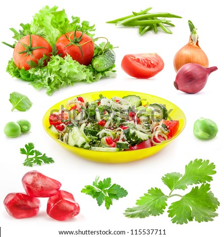 Collection of vegetable and fresh salad in yellow bowl isolated on white background - stock photo