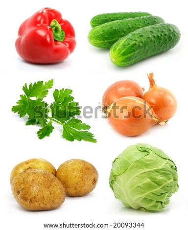 collection of vegetable fruits isolated on white background - stock photo