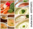Collection of vegetable soup including tomato,  broccoli  and noodle soup. - stock photo
