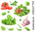 Collection of vegetables isolated on white background - stock photo