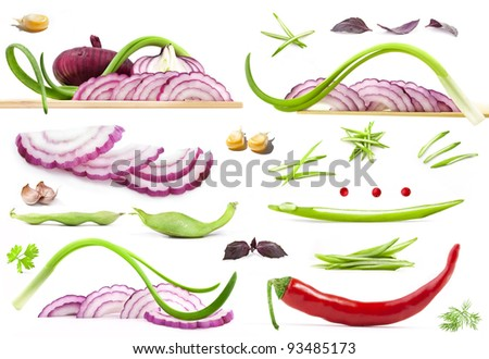 Collection of vegetables, red and green onions on a white background - stock photo