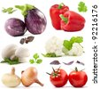 Collection of vegetables with a light shadows isolated on white, with clipping paths - stock photo