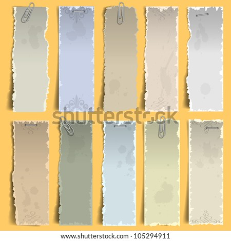 Collection of  vertical old note papers.  Raster version - stock photo
