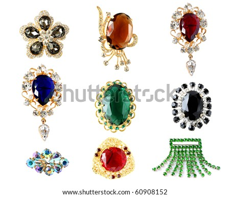 collection of vintage brooches - stock photo