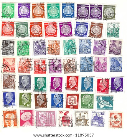 collection of vintage german stamps in different colors - stock photo