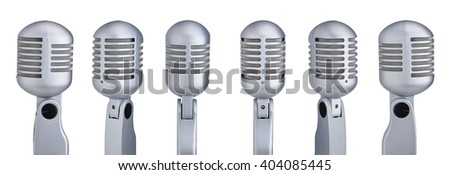 Collection of vintage microphones isolated on white  - stock photo
