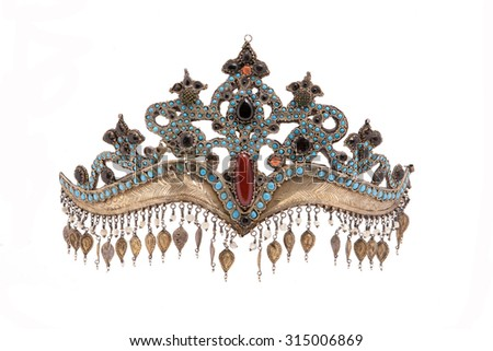 Collection of Vintage National  and Silver Jewelry,  Kazakh  National  Jewelry - stock photo